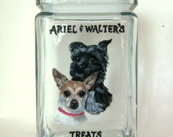 Pet Treat Jar, Chihuahua, Terrier, Hand Painted, Dog Biscuit Canister, Pet Portrait, Dog Painting, Pet Snack Container, Glass Jar, Dog Art