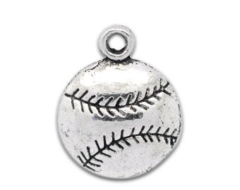 5 Pieces Antique Silver Baseball / Softball Charms