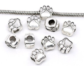 4 pieces Antique Silver Bear's Paw European Charm Beads