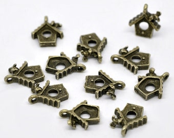 10 Pieces Antique Bronze Bird House Charms