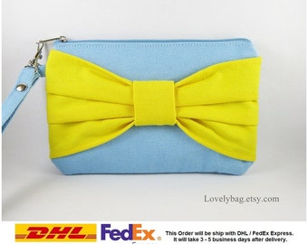 SUPER SALE - Set of 5 Light Blue with Yellow Bow Clutches - Bridal Clutches, Bridesmaid Wristlet, Wedding Gift, Zipper Pouch - Made To Order