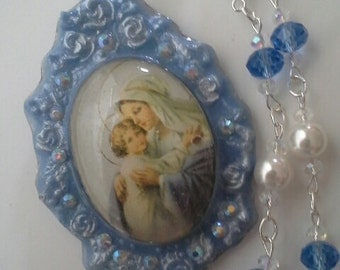 Sale. Mary and child necklace, religious necklace,cameo,beaded necklace,resin jewelry,Mary necklace,baby Jesus