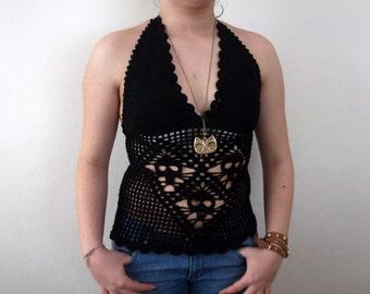 Black Crochet tank top -Crochet Skull Halter Top- Summer-Crochet Hippie Fringe Halter Top