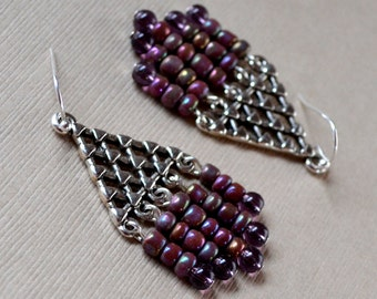 Triangle Purple Silver Chandelier Earrings Art Deco Plum Iridescent Beaded Long Drop Dangle Fashion Jewelry Paisley Beading Free Shipping