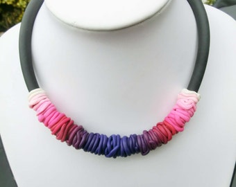 """Pink purple bow shaped necklace/ gradient ombre colors thin polymer clay tubes on 3.3"""" rubber cord with lobster clasp and chain"""