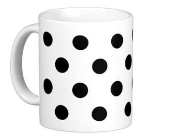 Black Polka Dot Coffee Mug, hs0188