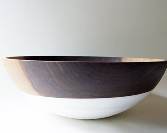"17 "" XXL Walnut and White Serving Bowl, Entertaining, Walnut Wood, Statement piece"