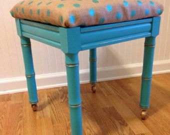 Faux Bamboo Turquoise Does The Polka Dots Stool Faux