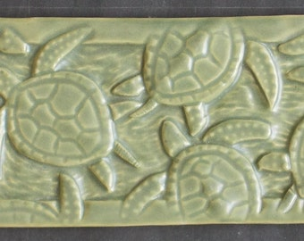 Sea Turtle Hand Made Subway Tile, Solid Colors