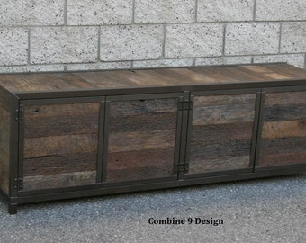 Rustic Media Console/Credenza. Reclaimed Wood. Handmade. Minimalist.  Customizable Furniture.