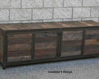 Rustic Media Console/Credenza. Reclaimed Wood. Handmade. Minimalist. Customizable. Real wood TV Stand. Buffet - Sideboard.