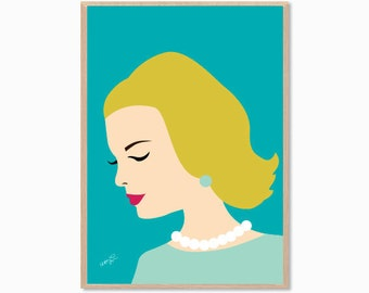 MAD MEN | Lady Poster : Modern Illustration Retro Art Wall Decor Print