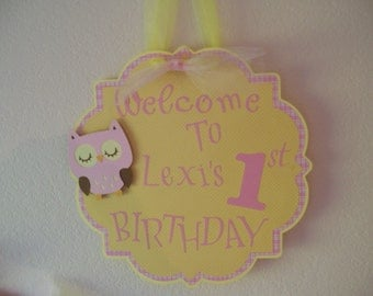 Girlst 1st Birthday Party sign-  Owl Birthday Party Sign