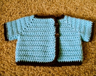 CLEARANCE Crocheted Baby Sweater Short Sleeved 9 - 12 months