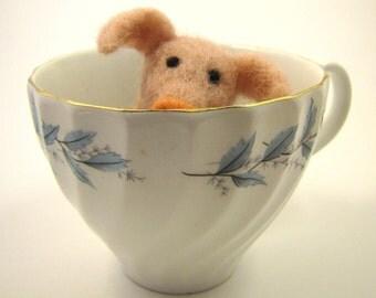 Needle-felted Teacup Pig