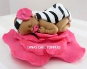 Zebra Black white Pink Baby shower cake Topper
