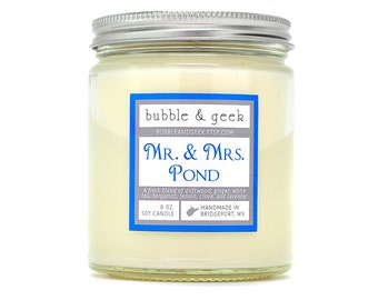 Mr. and Mrs. Pond Scented Soy Candle Jar - tea, ginger