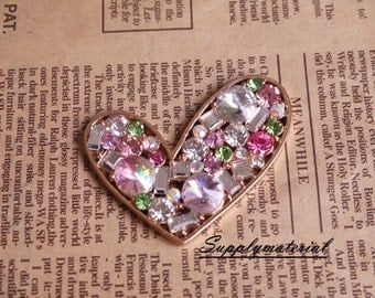 3pcs/lot Colorful Crystal Gem Heart-shaped Flatback Alloy jewelry Accessories materials supplies