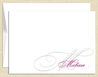Monogram Stationery - set of 10 - folded note cards - NAME MONOGRAM