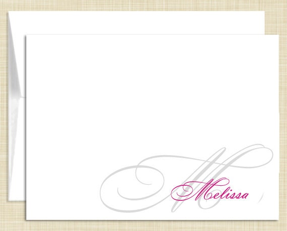 Monogram Stationery - set of 10 - folded note cards - NAME MONOGRAM