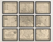 Old Baltimore Map Art Print 1851 Antique Map Archival Reproduction - Set of 9 Prints