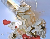 Alice in Wonderland Heart Table Confetti with crystals and charms - 600 Hearts