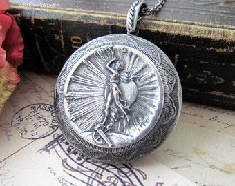Art Nouveau Victry Girl Antique Silver Large Locket Necklace, Vintage Inspired Girl with Trumpet Locket Necklace