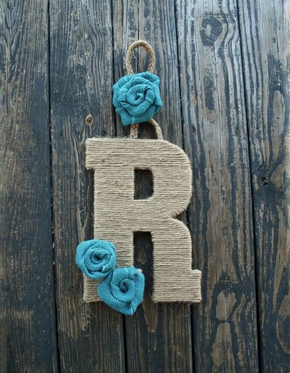 Decorative Letter Door Hanger, Jute Rope Wrapped Letter Wreath Alternative