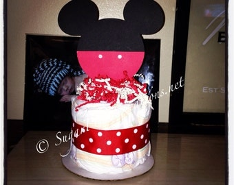 Mickey Mouse Diaper Cake Minis - Baby shower or birthday decorations- Item No MMDCM