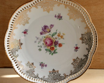 Vintage Schumann Arzberg Germany Porcelain Mini Plate, Vintage German Salad Plate Porcelain Garden Flowers Scene Home Decor Wedding Gift