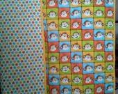 Monkey Mischief Crib or Toddler Blanket In Bright Gender Neutral Colors