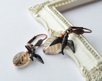 Nature Inspired Jewelry, Bird and Leaf Earrings, Mixed Metal Jewelry, Wirewrapped Earrings, Black Birds, Autumn Jewelry, Black and Honey