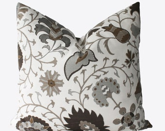 Decorative Designer Brown, Gray, Jacobean Floral Pillow Cover, 18x18, 20x20, 22x22 or Lumbar Throw Pillow