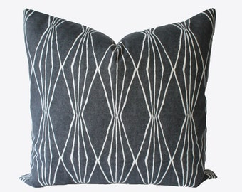 decorative graphic charcoal grey pillow cover 18x18 20x20 22x22 or lumbar throw pillow