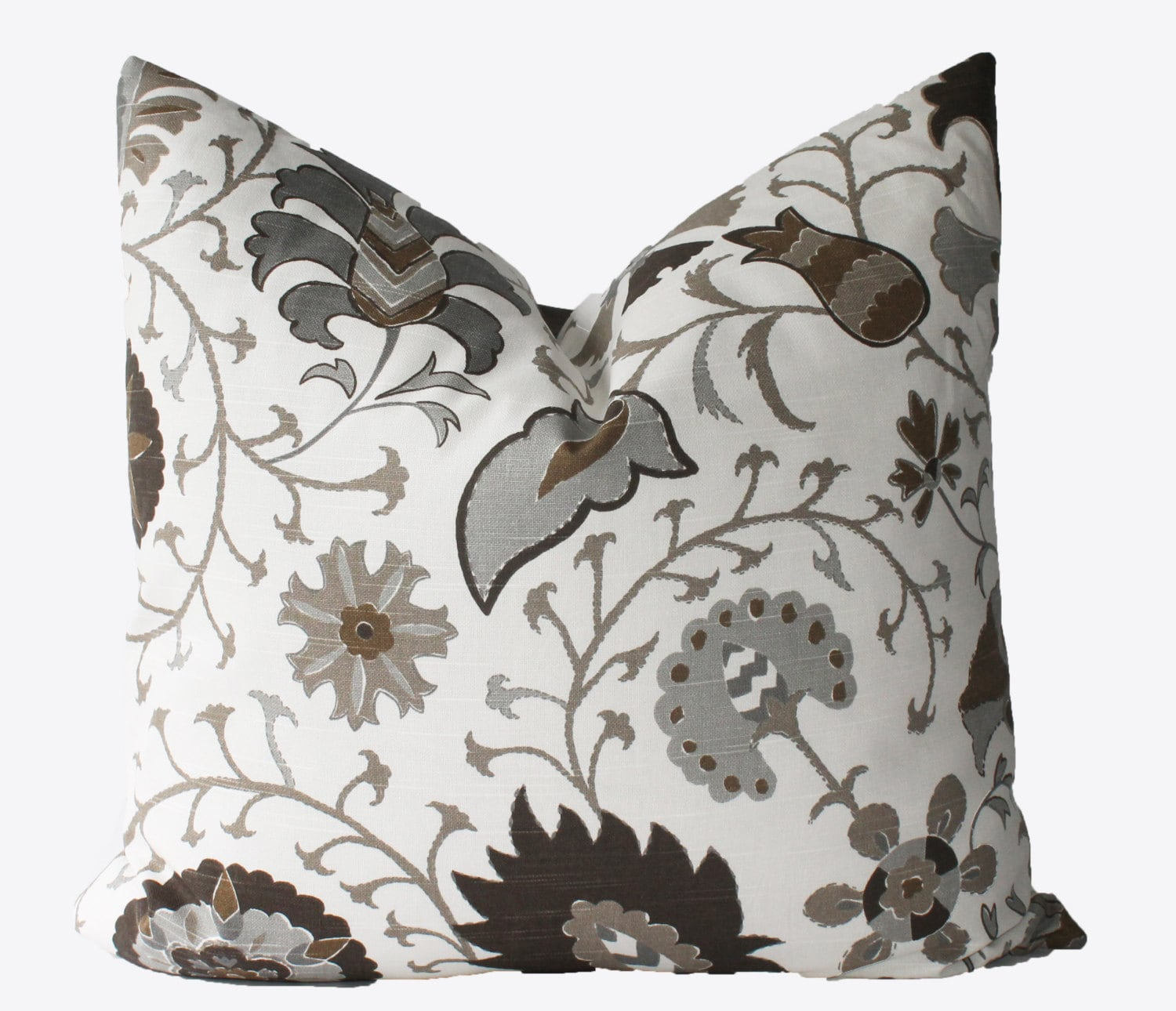 grey and brown throw pillows decorative designer brown gray jacobean floral pillow cover 6951