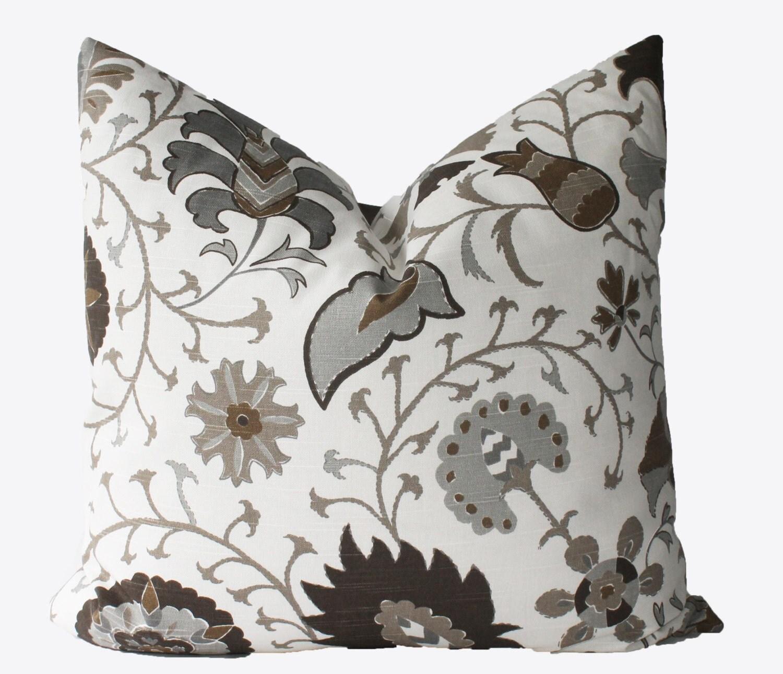 decorative designer brown gray jacobean floral pillow cover. Black Bedroom Furniture Sets. Home Design Ideas