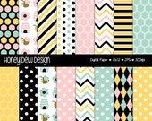 Instant Download - Digital Paper Pack 342 - Pink, Blue and Yellow Bumblebee Paper