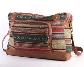 Tribal Weekender Bag, Large Tote Bag, Shoulder Bag, Teacher Bag, Lined Lightweight Purse Eco friendly Boho Gypsy Style