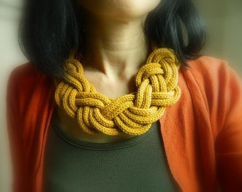 Fabric Knit necklace Statement Necklace Big Knot necklace bib necklace Mustard Accessory Big Chunky Necklace Wool Nautical Necklace