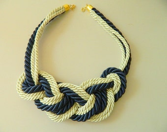 Rope Necklace Bib necklace Multi Strand Sailor Knot Necklace chunky knot necklace infinity knot nautical Necklace for her navy white