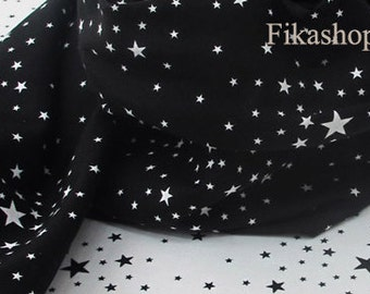 Yard - Twinkle Little Black Stars in White or White Stars in Black (2 Color) 100% Cotton - Fikashop