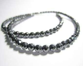 "4mm Black hematite faceted beads - 15.5"" strand of dark sparkling hematite beads - 4mm faceted hematite beads, black hematite spacer beads"