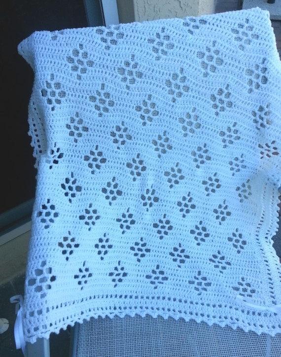 Crochet Patterns Christening Blanket : White crochet christening baptism baby blanket boy or girl
