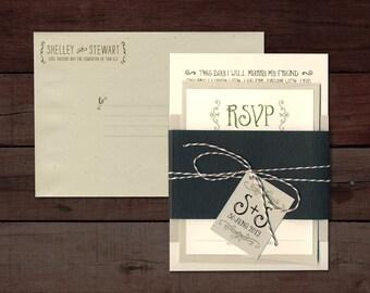 "Rustic Wedding Invitation, Whimsical Wedding Invitation, Green, Brown Wedding Invitation, Woodgrain Wedding Invitation - ""Shelley"" SAMPLE"