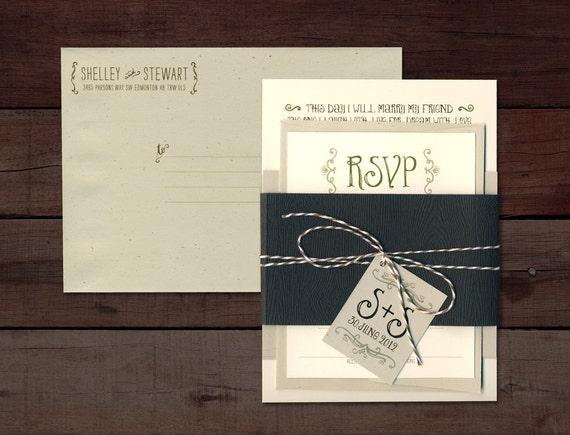 Canadian Wedding Invitations: Rustic Wedding Invitation Whimsical Wedding Invitation