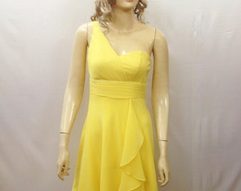 Yellow Bridesmaid Dress. One Shoulder Dress. Yellow Evening Dress. Knee Length Chiffon Dress.