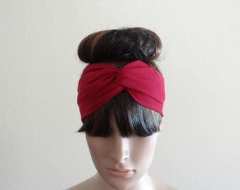 Medium Red Headband. Head Wrap