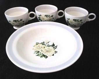 Homer Laughlin Coffee Cup and Soup Bowl Set with Gardenia Flowers and Gray Band Vintage 1930s Set of 4