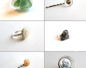 Jewelry Grab Bag- Mystery Item- Ring or Hair Pin- Seaglass, Tumbled Stones, Coins, River Rocks