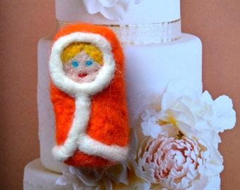 A Lady in Orange Coat OOAK Needle Felted Doll